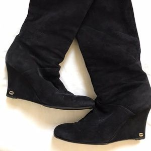 GUCCI Black Suede Knee High Boots